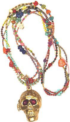 """#Collar """"doradita largo"""" http://nellass.com/products/doradita%2C-largo.html hecho a mano con calavera lacada en dorado mate, semi preciosas, rocalla, resinas, cuentas de metal y zamak."""