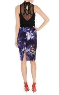 Karen Millen Tropical print pencil skirt purple multi,Karen Millen SN076,Karen Millen SN076 purple,karen millen clothes