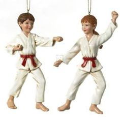 5 25' POLYRESIN KARATE ORNAMENT, SET OF 2 ASSORTED - Christmas Ornament => Remarkable discounts available  : Christmas Ornaments