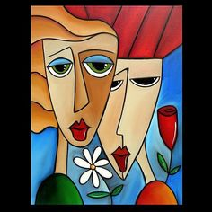Art: 2228 Original Abstract Art Painting While Were Young by Artist Thomas C. Abstract Face Art, Abstract Portrait, Portrait Art, Cubism Art, Arte Pop, Art Moderne, Whimsical Art, Modern Art, Pop Art