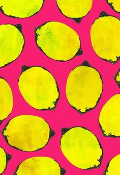 Pink background pattern, yellow lemons