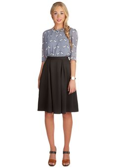 Dinner and a Smoothie Skirt. Indulging in your favorite foods and fruity treats just wouldnt be the same if you werent sweetly clad in this flared black skirt. #black #modcloth