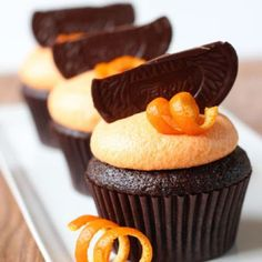 Chocolate Orange Cupcakes - so decadent, but easy to make! Your guests will love these dark chocolate cupcakes.