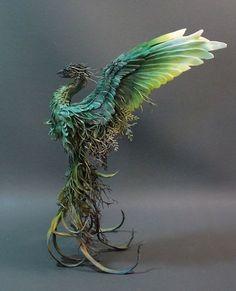 Forest Floor Phoenix original OAK sculpture by creatures from el - Ellen Jewett Fantasy Wesen, Fantasy Art, Animal Sculptures, Sculpture Art, Surrealism Sculpture, Dragons, Dragon Art, Magical Creatures, Creature Design