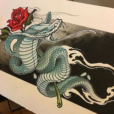 Japanese Snake Tattoo, Japanese Tattoo Designs, Japanese Tattoos, Tattoo Sketches, Tattoo Drawings, Cobra Tattoo, Cobra Art, Leg Sleeve Tattoo, Snake Art