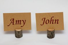 Like the wood holders, would work if we use the wood under the centerpiece idea rustic wedding placecard holders rustic holders table by EcoWood, $10.00
