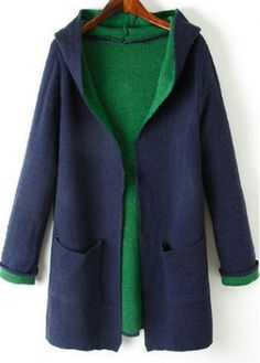 Fine Quality Long Sleeve Navy Cardigans with Hooded Collar