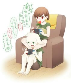 Chara and asriel it's having fun I can't believe they playing on the games playing on a video game so don't get mad you know how Tori old is she always says it clean up that is clean out this but Chara like chocolate pie I do too it's my favorite