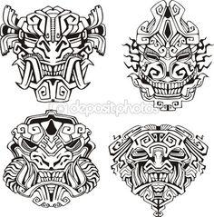 Ацтек монстр Тотем маски — Векторная картинка #16646465