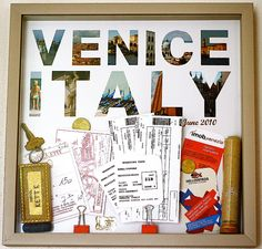 Shadow Box  Piece together a shadow box with mementos you scored on your trip. I particularly love how photographer Jordan Hebl styled hers. She cut letters of the city out of postcards or photos and added in little touches like sand from the area.   Source: Design Aglow