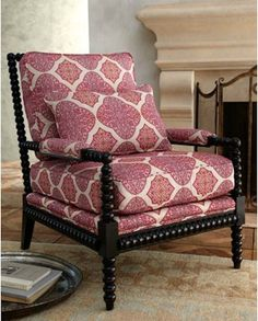 """Shop """"Spindle Lace"""" Chair from Massoud at Horchow, where you'll find new lower shipping on hundreds of home furnishings and gifts. Spool Bed, Spool Chair, My Living Room, Living Room Chairs, Kitchen Living, Living Area, Living Spaces, Dining Room, Spindle Chair"""
