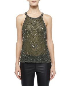Beaded Pittsburgh Chiffon Blouse, Cedar by Parker at Neiman Marcus.