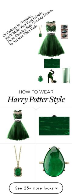 """Slytherin dress"" by agramorstanmoriarty on Polyvore featuring Ashlyn'd and Effy Jewelry"