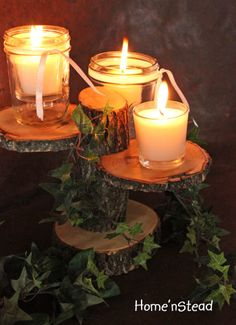 Rustic Wedding Decor Tree Mason Jar / Candle Stand Table Center Piece Holder Diy Craft Table diy tables to hold craft items poles Small Mason Jars, Mason Jar Candles, Diy Candles, Decorative Candles, Rustic Wedding Centerpieces, Wedding Decorations, Table Decorations, Wedding Rustic, Rustic Weddings