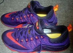 Nike Lebron XII Low Mens' Shoes Court Purple/Bright Crimson-Purple-Laser Orange 724557-565. Used but taken well care of. size 14.   eBay!