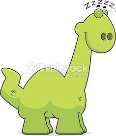 Sleeping Cartoon Apatosaurus Vector Art | Thinkstock