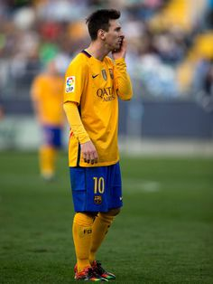 Lionel Messi of FC Barcelona reacts during the La Liga match between Malaga CF and FC Barcelona at La Rosaleda Stadium on January 23, 2016 in Malaga, Spain.