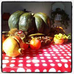Frutti autunnali (zucca, cachi, melograni, castagne).
