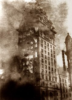 """""""The Burning of the Call."""" The San Francisco Call newspaper building in flames after the April 18, 1906 earthquake. Pillsbury Picture Co."""