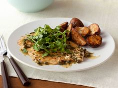 Chicken Piccata- Simply add the zip of white wine with a tiny bit of white wine vinegar to finish, and get the richness of butter by swirling one tablespoon of it into the sauce at the very end. http://www.foodnetwork.com/recipes/food-network-kitchens/chicken-piccata-recipe.html