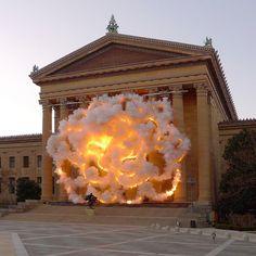 """Cai Guo-Qiang, """"Fallen Blossoms"""", Philadelphia, 2009"""