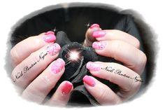 Unhas em gel rosa Velho com nail art feita á mão!