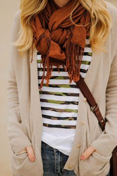Orange scarf, cardigan, shirt and jeans combination for fall