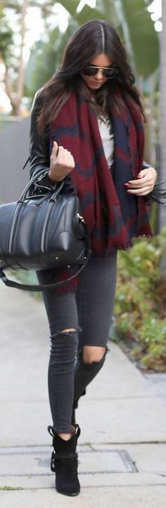 Kendall Jenner: Purse – Givenchy  Jeans – J Brand  Shoes – Isabel Marant  Jacket – Barbara Bui  Scarf – Wilfred Diamond