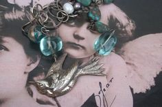 Silver Bird Necklace, Bird jewelry, upcycled antique necklace, ooak, Aqua beads, Upcycled jewelry, Bespoke jewelry, Figural jewelry, bird Vintage Pearls, Vintage Rhinestone, Vintage Silver, Vintage Jewelry, French Vintage, Antique Jewelry, Silver Jewelry, Bird Jewelry, Animal Jewelry