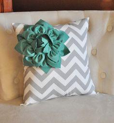 Teal Corner Dahlia on Gray and White Zigzag Pillow 14 X 14 -Chevron Flower Pillow- Zig Zag Pillows -NEW COLOR via Etsy