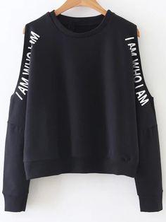 Чёрный свитшот с текстовым принтом с открытыми плечами