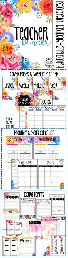 A BEAUTIFUL Floral Watercolor Teacher Binder. Includes weekly planner, monthly and yearly calendars with free updates every year!