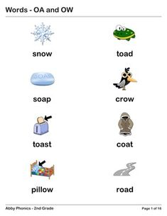 Phonics - Second Grade - OA and OW Series