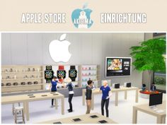 Apple store at akisima Halloween Film, Sims 4 Afro Hair, Sims 4 Piercings, The Sims 4 Lots, Apple Store, Around The Sims 4, Sims New, Sims 4 Bedroom, Casas The Sims 4