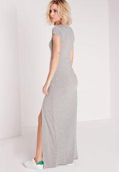 42c39835c4e Missguided - Robe T-shirt longue grise fendue Robes Longues