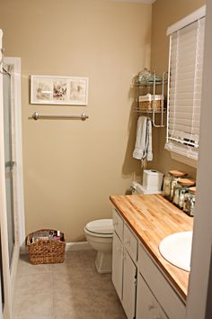 Butcher Block Bathroom Countertop. Possible Vanity Redo Replace Counter And Raise Up With Open Shelves For Rolled Towels