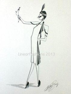 Great Gatsby Fashion Illustration Art by LinearFashions, $38.00.