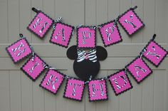 Minnie Mouse Hot Pink and Zebra Happy Birthday by KeepsakeToppers, $18.00