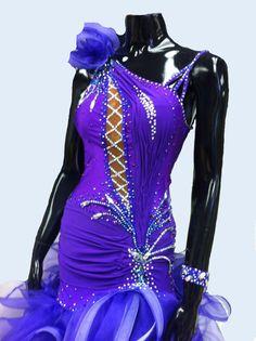 Items similar to Purple Dance Dress Latin with Ruffle skirt on Etsy Latin Ballroom Dresses, Latin Dresses, Dance Poses, Ruffle Skirt, Costume Dress, Purple Dress, Dance Costumes, Dance Wear, Dress Making