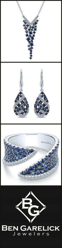 The stars in the night aren't as beautiful as she'll feel in Sapphire jewelry from Ben Garelick and Gabriel! #BenGarelick #GabrielRetailer #SparkleObsession #PerfectAnniversaryGift