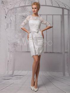 Elegantes Etui-Brautkleid aus Spitze und Rundkragen und Gürtel knielang in Elfenbeinfarbe Milanoo