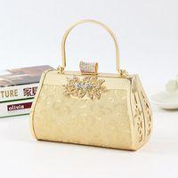 2015 New Arrival Women Diamond Floral Evening Clutch Bag Ladies Banquet Wedding Handbag Party Prom Wallet Purse Gold Hot Sale