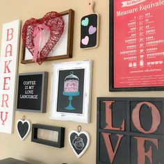 I finally finished up a few changes to the gallery wall. I kept the same basic layout as last time; in fact, I didn't even change or add any new wall screws. I just scooted a few existing signs around Hot Cocoa Bar, Coffee Signs, Gallery Walls, Bar Signs, New Wall, Acorn, Wall Collage, Light Up, Valentines Day