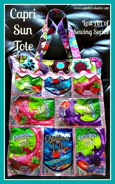 This FUN tote is made from Capri Sun drink pouches!  Come see the great tutorial. www.amothersshadow.com