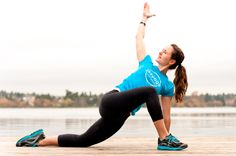 Low lunge twist (from warrior III): stretches hips and twists spine.