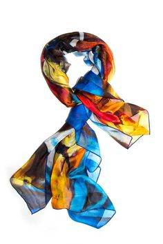 """Multicolor, fruit motif rectangular scarf with blue-stitched border. This very soft and lightweight piece is perfect as a spring scarf or summer shawl.    Measures 36""""W x 76""""L.   Multicolor Scarf by Kaskól. Accessories - Scarves & Wraps Dallas, Texas"""
