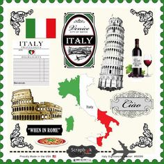 Use the Italy Sightseeing Stickers from Scrapbook Customs today. These 12 x 12 cardstock stickers are a great addition to all your scrapbooking and cardmaking Scrapbooking Stickers, Scrapbooking Layouts, Digital Scrapbooking, Album Scrapbook, Travel Scrapbook, Scrapbook Journal, Gs World, Venice City, World Thinking Day