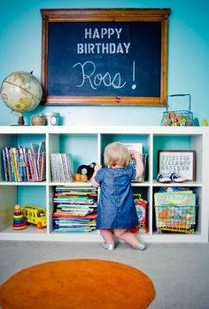 Cute idea: put a chalkboard in your child's room and leave different notes to them each day/week. It'd also be cute to take pictures of this each time you switch it out as part of your journal/scrapbook for the year.