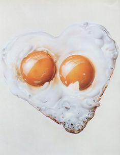"""Masao Saito, """"Heart Eggs""""From Masao Saito's Food Illustrations (1988)"""