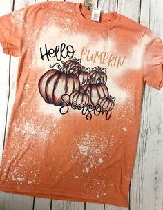 Excited to share this item from my shop: Bleached Fall shirt/ Hello pumpkin season/ unisex gildan softstyle short sleeve shirt/ pumpkin/fall/orange/leaves/patch Diy Tee Shirt, Bleach Shirt Diy, Diy Bleached Shirt, Vinyl Shirts, Mom Shirts, Cute Shirts, School Shirts, Cute Shirt Designs, Tie Dye Crafts